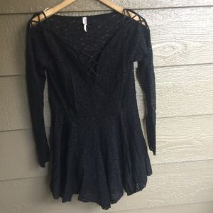 Free people cold shoulder lace mini dress